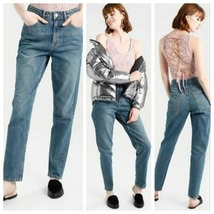 NWT Topshop Mom High Waisted Moto Jeans W 30 L 34